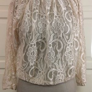 NWT Poof Ivory Lace Top S